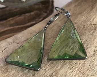 Triangle Green Amethyst earrings in 925 sterling silver / vermeil setting