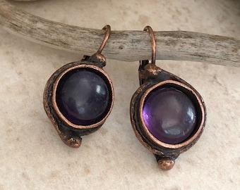 Amethyst Earrings | purple stone jewelry in copper lever back bezels
