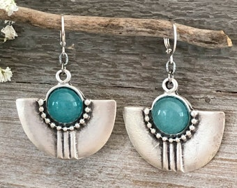 Tribal Fan Earrings | natural blue apatite stones in silver jewelry