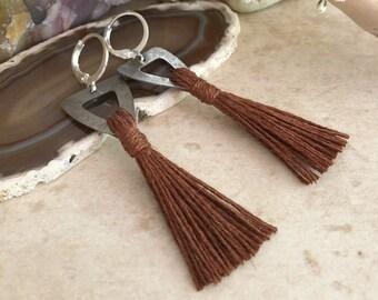 Brown Tassel Earrings | hand spun linen fiber | color therapy