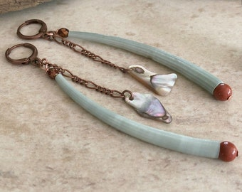 Dentalium Sea Shell earrings | red river jasper and abalone jewelry