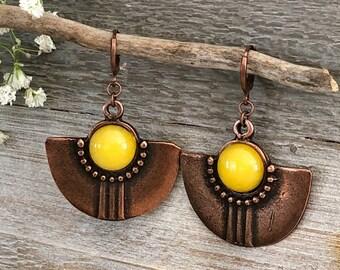 Copper / Stone Earrings