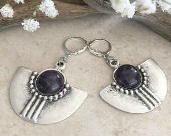 Tribal Fan Earrings | purple amethyst natural stones in silver