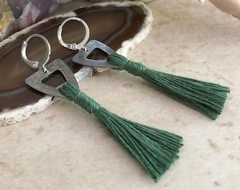 Rejuvenating Green Tassel earrings   organic linen   color therapy