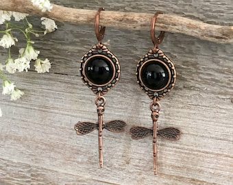 Copper Dragonfly Earrings | natural black obsidian stone jewelry
