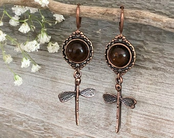 Copper Dragonfly Earrings   natural baltic amber stone jewelry