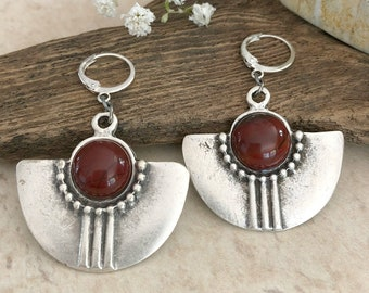 Tribal Fan Earrings | red river jasper stones in silver jewelry