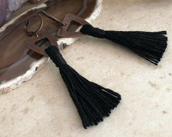 Black Tassel Earrings | organic linen in copper jewelry