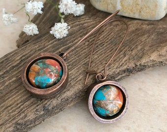 Spiny Oyster / Arizona turquoise earrings | copper stone jewelry