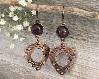 Peaceful Heart Earrings | copper jewelry with purple amethyst stones