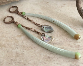 Dentaliam Shell Earrings | abalone and serpentine stone jewelry