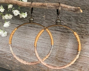 Sari Silk Hoop earrings | gold and gray fabric natural jewelry