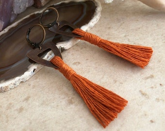 Rust Tassel Earrings in copper   hand spun linen fiber   color therapy