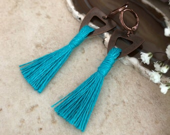 Turquoise Tassel Earrings in copper | hand spun linen fiber | color therapy