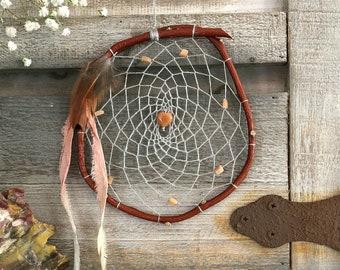 Willow Dream Catcher | gray with red aventurine heart stone