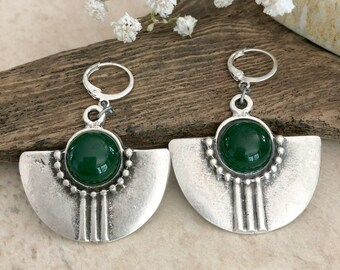Silver Tribal Fan earrings | green jade natural stone jewelry