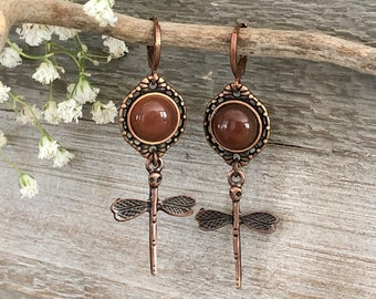 Copper Dragonfly Earrings | natural carnelian stone jewelry