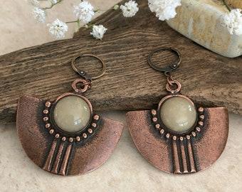 Tribal Fan Earrings | honey jade stones in antique copper