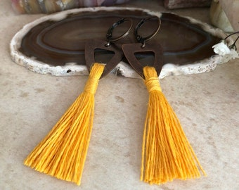 Sunshine Yellow Tassel earrings in copper  | hand spun organic linen fiber