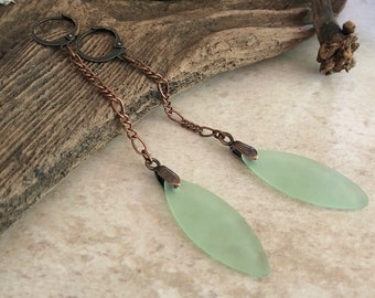 Opaque Green Sea glass earrings | beach glass jewelry