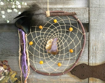 Mookaite Dream Catcher | natural willow branch with acai beads