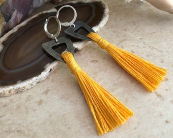 Sunshine Yellow Tassel earrings | hand spun organic linen fiber