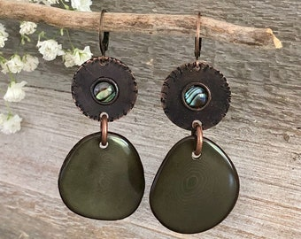 Green Tagua Nut earrings | copper abalone shell inlay charms