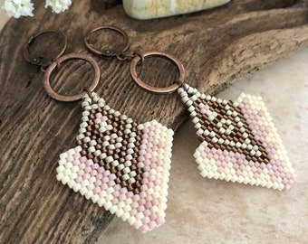 Pink Arrow Earrings | copper and white beaded ouray design