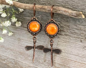 Copper Dragonfly Earrings | natural coral spiny oyster shell jewelry