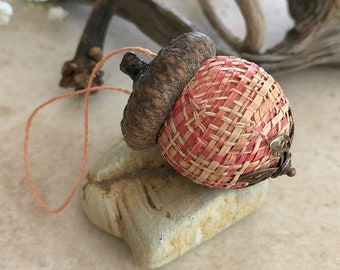 Rustic orange Acorn Ornament   natural hemp with real acorn cap
