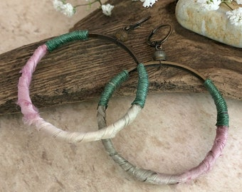 Sari Silk Hoop earrings | sage green pink and brass jewelry