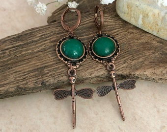 Copper Dragonfly Earrings | natural green jade stone jewelry
