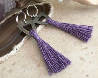 Purple Tassel Earrings | hand spun linen fiber | color therapy
