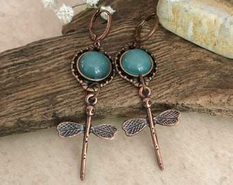 Copper Dragonfly Earrings | natural apatite stone jewelry