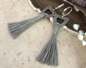 Gray Tassel Earrings | hand spun linen fiber | color therapy