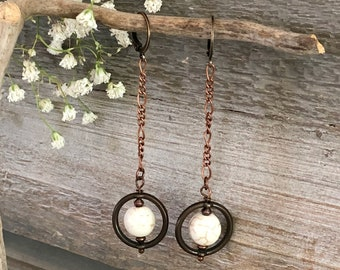 Saturn in White Howlite earrings | cosmic copper and stone jewelry