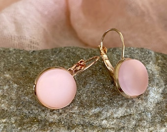 Cultured Pink Sea glass earrings in rose gold plated bezel sets