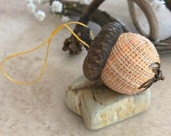 Golden Yellow Acorn ornament   natural hemp with real acorn cap