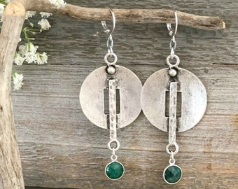 Circular Plate Earrings | emerald drops | ancient contemporary jewelry