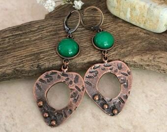 Peaceful Heart Jade earrings | copper and green jade jewelry