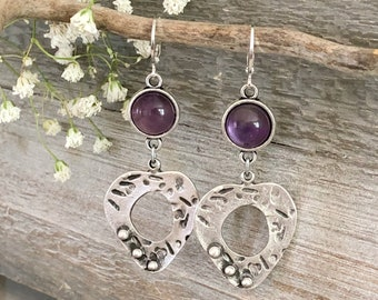Peaceful Heart Earrings | purple amethyst stones in silver jewelry