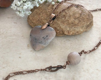 Pink Quartz Necklace | natural heart earth stone jewelry