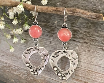 Peaceful Heart Silver earrings | cherry quartz crystal jewelry