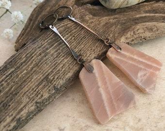 Raw Sunstone Slab earrings   natural earth stone jewelry