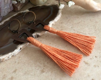 Coral Tassel Earrings in copper | hand spun linen fiber | color therapy