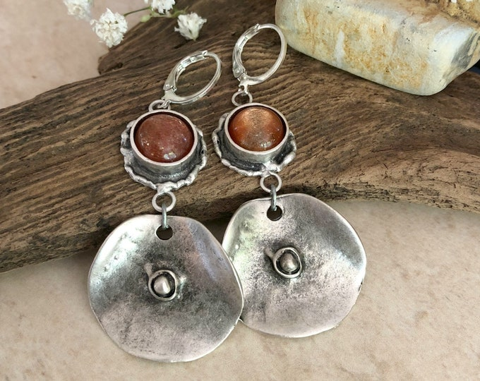 Featured listing image: Sunstone Tribal Earrings | silver on brass hammered metal jewelry