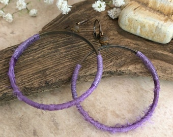 Sari Silk Hoop earrings | natural brass and purple fabric jewelry