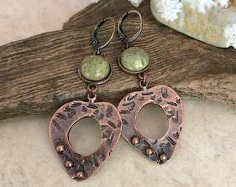 Peaceful Heart Earrings | unakite stones in copper jewelry
