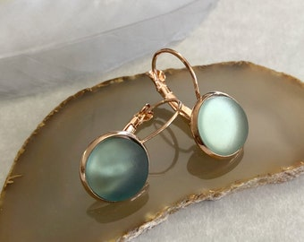 Cultured Sea Glass earrings in rose gold plated bezel sets