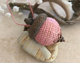 Pastel pink Acorn Ornament   natural hemp with real acorn cap